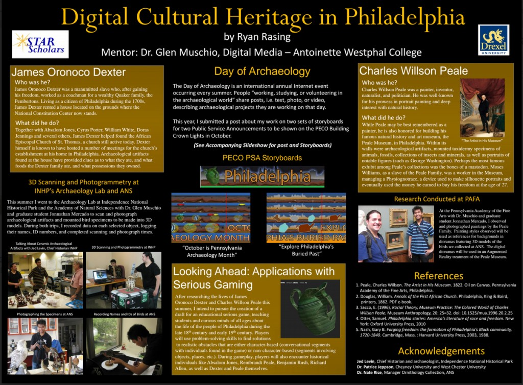 Rasing's poster on creating the new archaeology month Public Service Announcements was presented at  Drexel University  on August 27th.