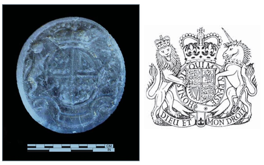 Gemstone with the British Royal Coat of Arms found at the bottom of the Humphreyses' privy. Archaeologists excavated the privy, near 3rd and Chestnut Street, Philadelphia, in advance of the construction of the Museum of the American Revolution (opening 2017). (Photo courtesy of Juliette Gerhart: Plate 4.6., AS I of Feature 16, lot 77.)