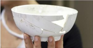 Porcelain bowl, discovered at the site of the Museum of the American Revolution. Originally catalogued as a white, salt-glazed stoneware slop bowl with an unusual matte finish, subsequent physical spectrographic analysis reveals its composition to be true or hard-paste porcelain. (Robert Hunter)